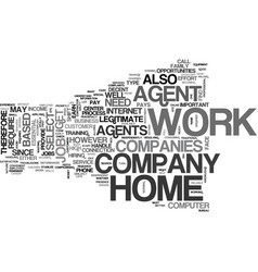 Work at home agents text word cloud concept vector