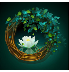 Wreath of vines and leaves with nymphaea vector
