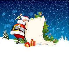 Santa claus holding a roll of gift vector