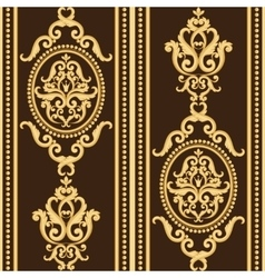 Seamless damask pattern gold and brown texture vector
