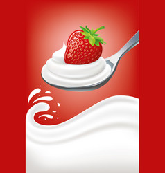 Milk cream on spoon with fresh strawberry vector