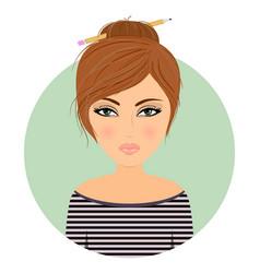 girl avatar cartoonstock vector image