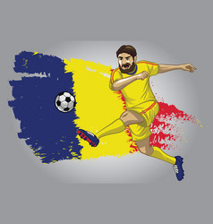 Romania soccer player with flag as a background vector