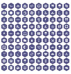 100 seaside resort icons hexagon purple vector