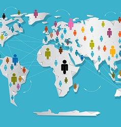 People on paper world map - social media vector