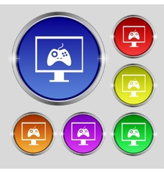 Joystick and monitor sign icon video game symbol vector