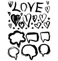 Grunge set of speech bubbles and hearts grungy vector