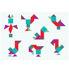 birds on the farm Tangram vector image