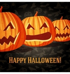 Halloween greeting card with carved pumpkins vector