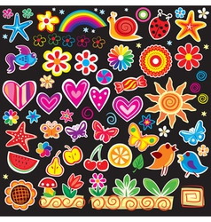 Set of cheerful sticker vector