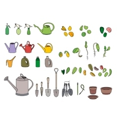 Set with seeds garden tools and equipment vector