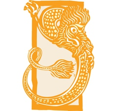Curled Chinese Dragon Color vector image