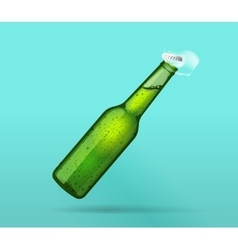 Full green wet bottle opened with flying cap vector