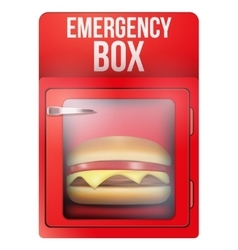 Red emergency box with hamburger vector
