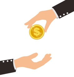 Business hand receiving coin from another person vector