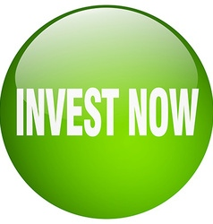 Invest now green round gel isolated push button vector