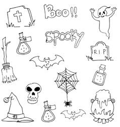 Halloween black white in doodle vector