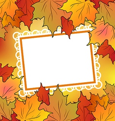Autumn maple leaves with floral greeting card vector image vector image