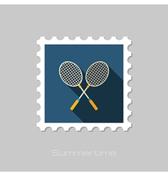 Badminton Racket flat stamp Summer Vacation vector image