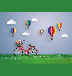 bicycle in the garden with colorful hot air vector image vector image