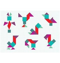 birds on the farm Tangram vector image vector image