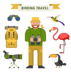 Birdwatching Travel Elements vector image