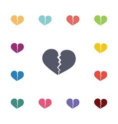 broken heart flat icons set vector image
