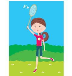 Cartoon girl plays badminton vector image