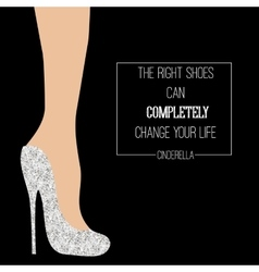 Cinderella shoes inspirational card vector image vector image