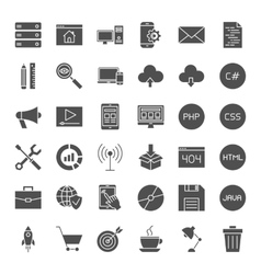 Coding solid web icons vector