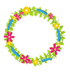 Colorful floral circle with red and yellow vector