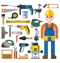 Construction man and building tools set vector