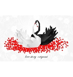 Couple origami swans Valentines background vector image