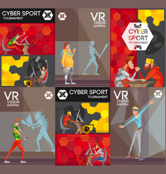 Cybersport vr colorful flat composition poster vector