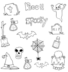 Halloween black white in doodle vector image vector image