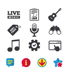Musical elements icon microphone music note vector