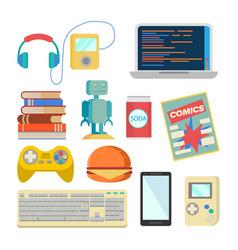 Nerd items set geek accessories vector
