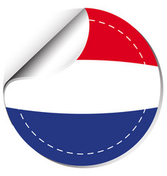 Netherlands flag on round sticker vector