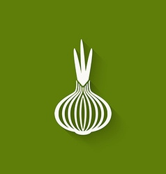 onion icon green background vector image