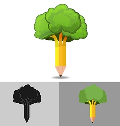 Pencil tree logo icon symbol vector