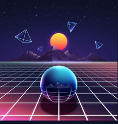 Retro vibrant futuristic synth night poster vector