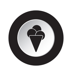 Round black and white button - ice cream icon vector