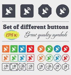 Satellite antenna icon sign big set of colorful vector