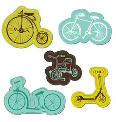 Set of baby bike stickers vector