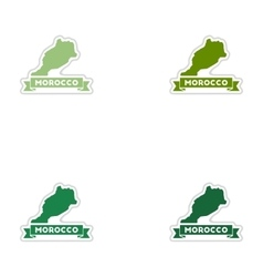 Set of paper stickers on white background Morocco vector image