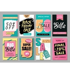 Set of social media sale website and mobile banner vector image