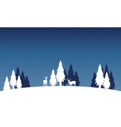 Silhouette of deer and spruce landscape winter vector image vector image