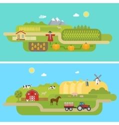 Summer Agricultural Landscapes vector image