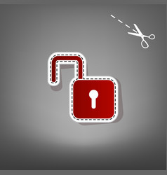 Unlock sign red icon with vector