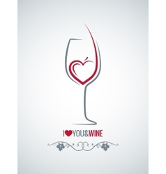 wine glass heart concept background vector image vector image